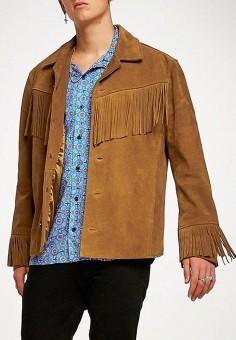 Куртка кожаная, Topman, цвет: коричневый. Артикул: TO030EMBQEG4. Одежда / Верхняя одежда / Кожаные куртки
