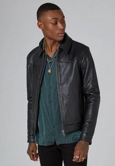 Куртка кожаная, Topman, цвет: черный. Артикул: TO030EMCIMQ6. Одежда / Верхняя одежда / Кожаные куртки