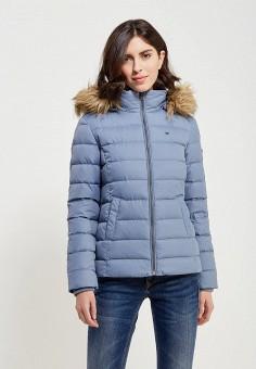 Пуховик, Tommy Jeans, цвет: голубой. Артикул: TO052EWTPB33. Одежда / Верхняя одежда / Пуховики и зимние куртки
