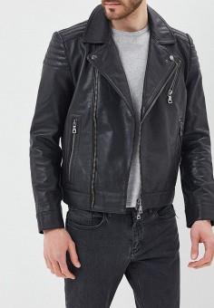 Куртка кожаная, Tommy Hilfiger, цвет: черный. Артикул: TO263EMAGTT7. Одежда / Верхняя одежда / Кожаные куртки