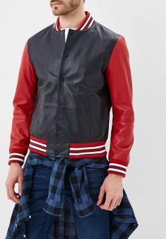 Куртка кожаная, Tommy Hilfiger, цвет: синий. Артикул: TO263EMAGTT8. Одежда / Верхняя одежда / Кожаные куртки
