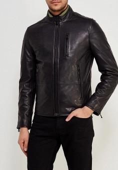 Куртка кожаная, Tommy Hilfiger, цвет: черный. Артикул: TO263EMYZX86. Одежда / Верхняя одежда / Кожаные куртки