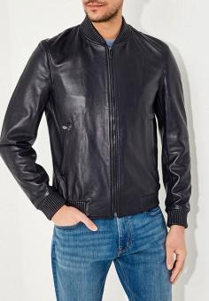Куртка кожаная, Trussardi, цвет: синий. Артикул: TR002EMAEUD8. Одежда / Верхняя одежда / Кожаные куртки