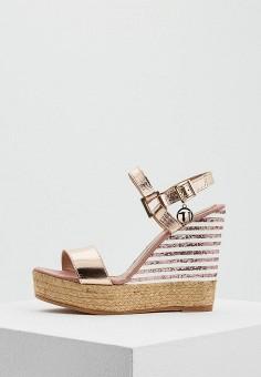 Босоножки, Trussardi Jeans, цвет: золотой. Артикул: TR016AWAEUR5. Обувь