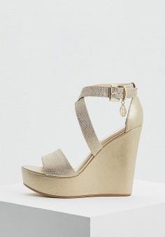 Босоножки, Trussardi Jeans, цвет: золотой. Артикул: TR016AWAEUS7. Обувь