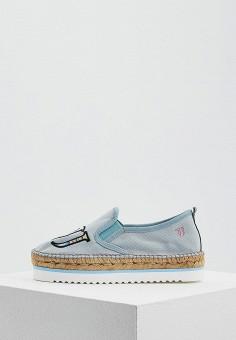 Эспадрильи, Trussardi Jeans, цвет: голубой. Артикул: TR016AWAEUT8. Обувь
