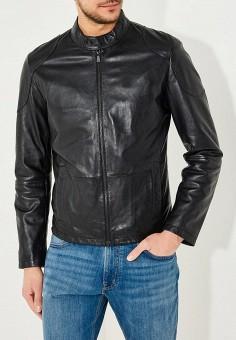 Куртка кожаная, Trussardi Jeans, цвет: черный. Артикул: TR016EMYXK67. Одежда / Верхняя одежда / Кожаные куртки