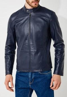 Куртка кожаная, Trussardi Jeans, цвет: синий. Артикул: TR016EMYXK68. Одежда / Верхняя одежда / Кожаные куртки