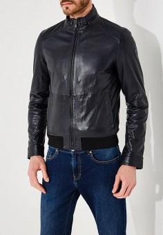 Куртка кожаная, Trussardi Jeans, цвет: синий. Артикул: TR016EMYXK69. Одежда / Верхняя одежда / Кожаные куртки