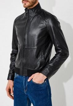 Куртка кожаная, Trussardi Jeans, цвет: черный. Артикул: TR016EMYXK70. Одежда / Верхняя одежда / Кожаные куртки