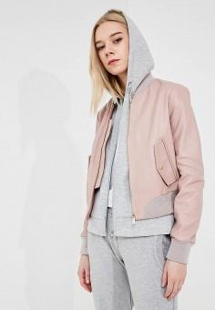 Куртка кожаная, Trussardi Jeans, цвет: розовый. Артикул: TR016EWZXK92. Одежда / Верхняя одежда