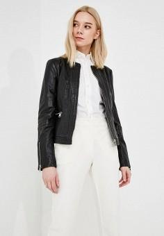 Куртка кожаная, Trussardi Jeans, цвет: черный. Артикул: TR016EWZXK93. Одежда / Верхняя одежда