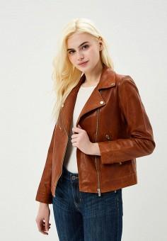 Куртка кожаная, Trucco, цвет: коричневый. Артикул: TR030EWAUTL6. Одежда / Верхняя одежда / Косухи
