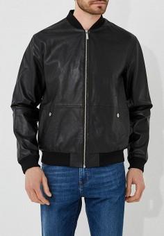 Куртка кожаная, Versace Jeans, цвет: черный. Артикул: VE006EMZIC34. Одежда / Верхняя одежда / Кожаные куртки