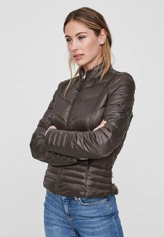 Куртка утепленная, Vero Moda, цвет: коричневый. Артикул: VE389EWBWWO0. Одежда / Верхняя одежда / Демисезонные куртки