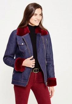 Куртка утепленная, V&Florence, цвет: синий. Артикул: VF001EWVFG04. Одежда / Верхняя одежда / Джинсовые куртки