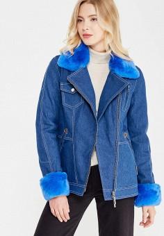 Куртка утепленная, V&Florence, цвет: синий. Артикул: VF001EWVFG05. Одежда / Верхняя одежда / Джинсовые куртки