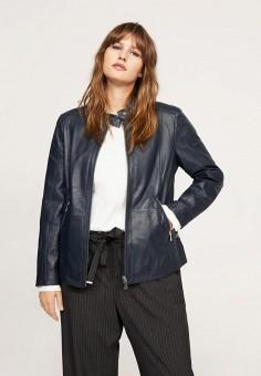 Куртка кожаная, Violeta by Mango, цвет: синий. Артикул: VI005EWAFML6. Одежда / Верхняя одежда