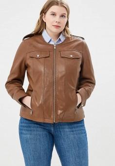 Куртка кожаная, Violeta by Mango, цвет: коричневый. Артикул: VI005EWAQYA0. Одежда / Верхняя одежда