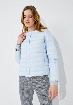Пуховик, Weekend Max Mara, цвет: бежевый, голубой. Артикул: WE017EWADTA3. Одежда / Верхняя одежда / Пуховики и зимние куртки