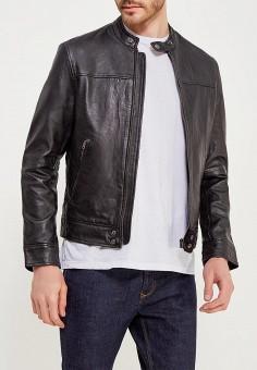 Куртка кожаная, Wrangler, цвет: черный. Артикул: WR224EMAPFD4. Одежда / Верхняя одежда / Кожаные куртки