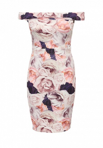 Платье Just Joan BARDOT PENCIL IN ROSE PRINT