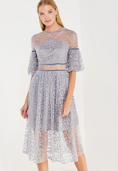 Платье LOST INK DROP BALLOON SLEEVE EMBROIDERED DRESS