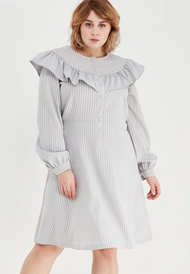 Платье LOST INK PLUS STRIPE DRESS WITH CHECK FRILL