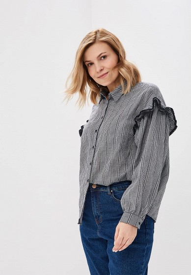 Блуза LOST INK PLUS SHIRT IN GINGHAM WITH RUFFLE SLEEVE