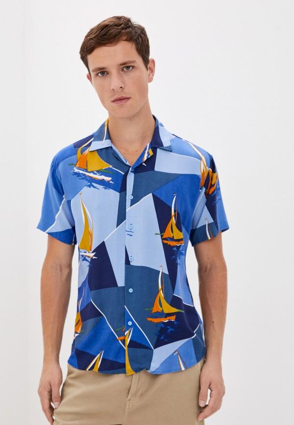 мужская рубашка с коротким рукавом aarhon, синяя