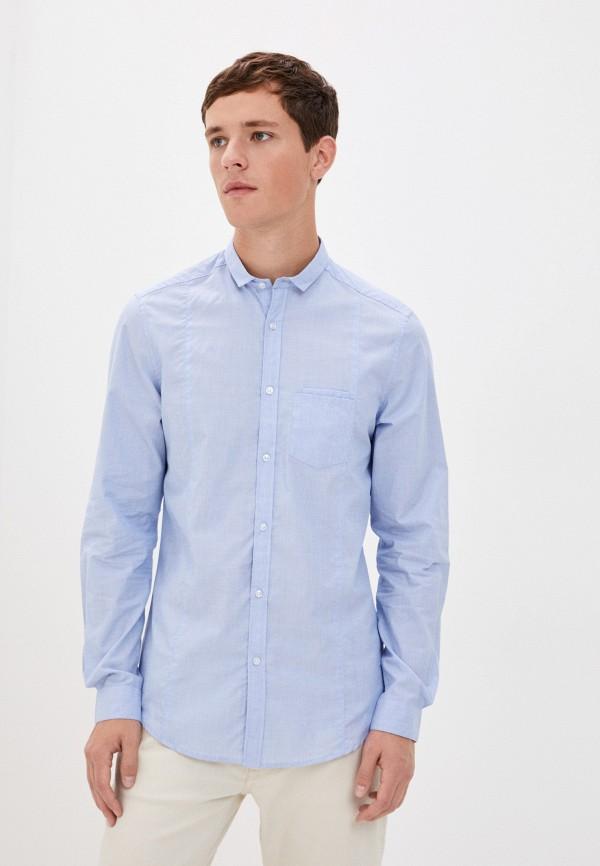 мужская рубашка с длинным рукавом aarhon, голубая