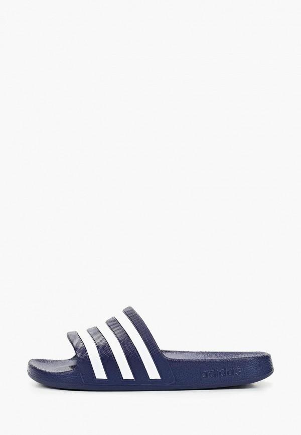 женские сланцы adidas, синие