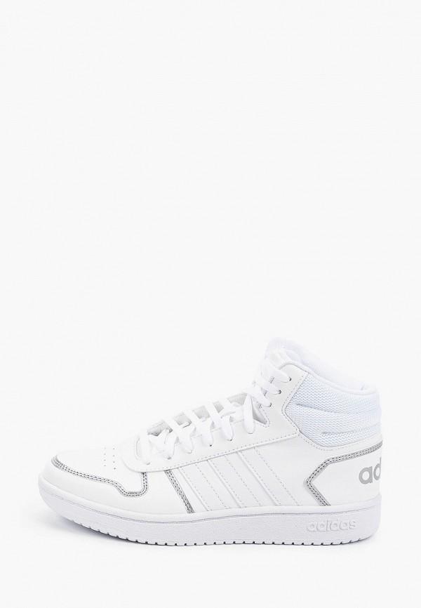 женские высокие кеды adidas, белые