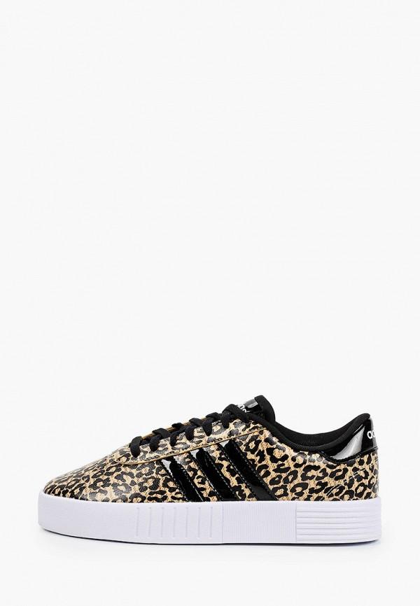 женские низкие кеды adidas, коричневые