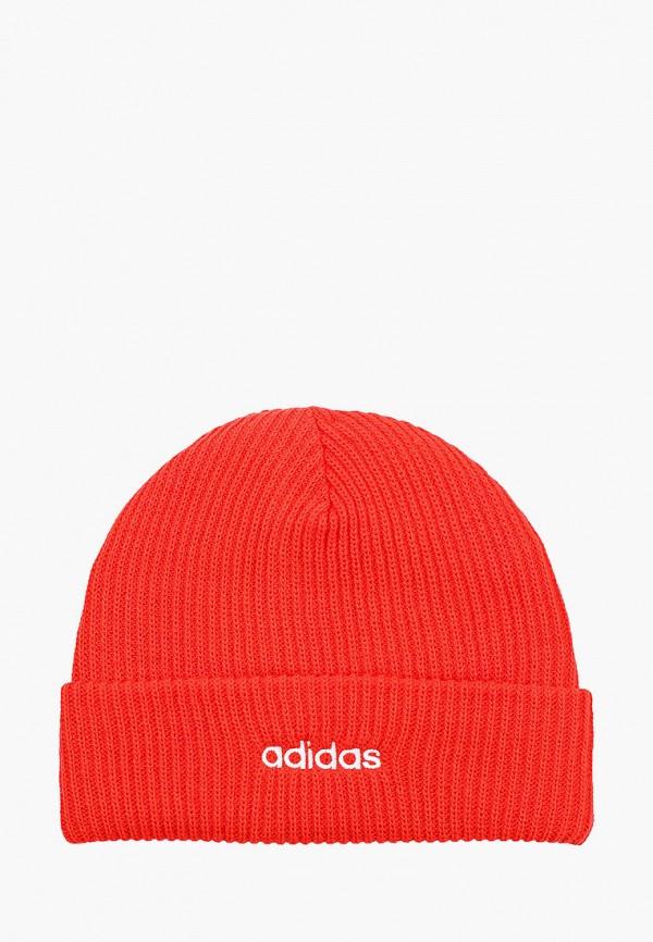 женская шапка adidas, красная