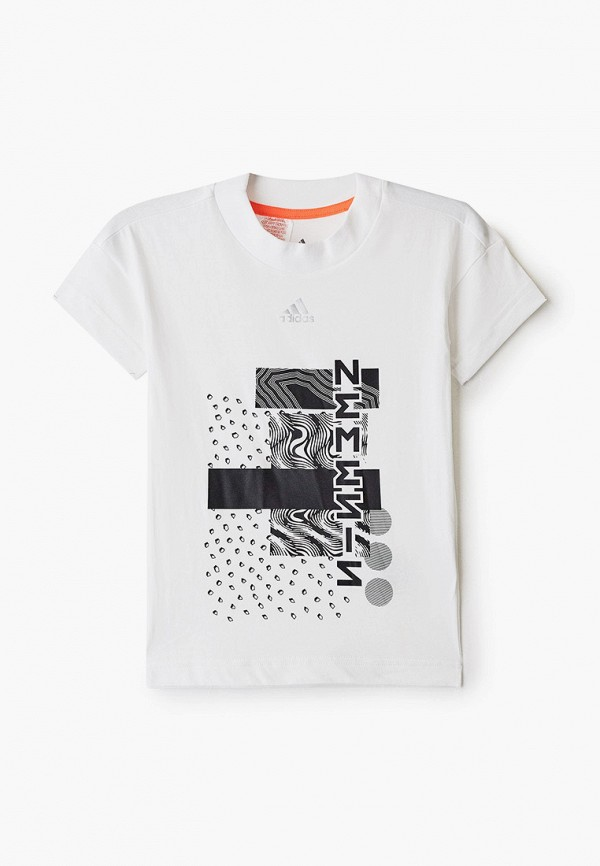 футболка с коротким рукавом adidas для мальчика, белая