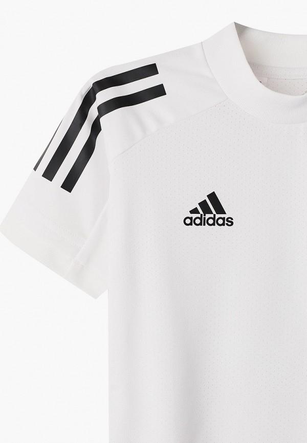 Фото 3 - Футболку спортивная adidas белого цвета