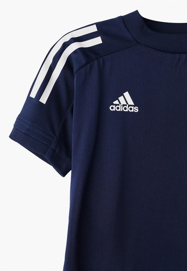 Фото 3 - Футболку спортивная adidas синего цвета