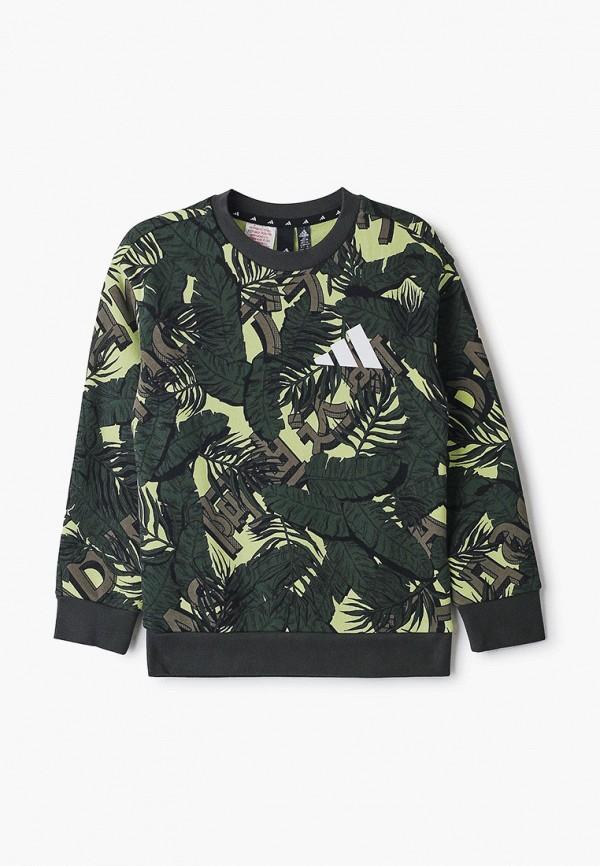 свитшот adidas для мальчика, зеленый