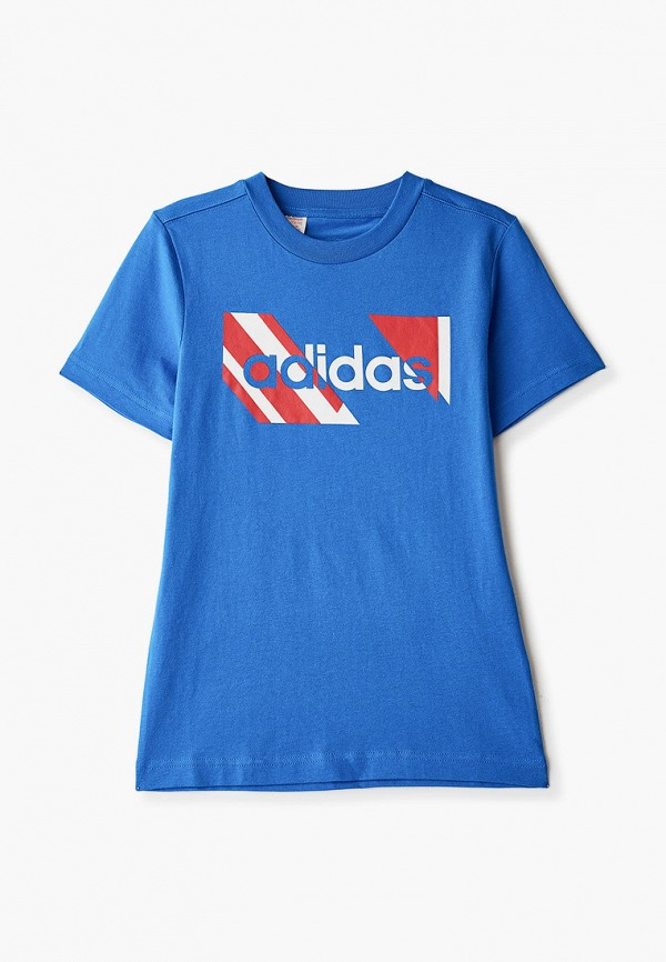футболка с коротким рукавом adidas для мальчика, синяя