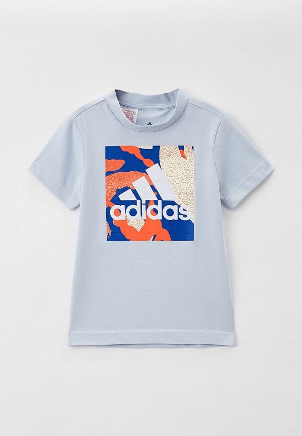 футболка с коротким рукавом adidas для мальчика, голубая