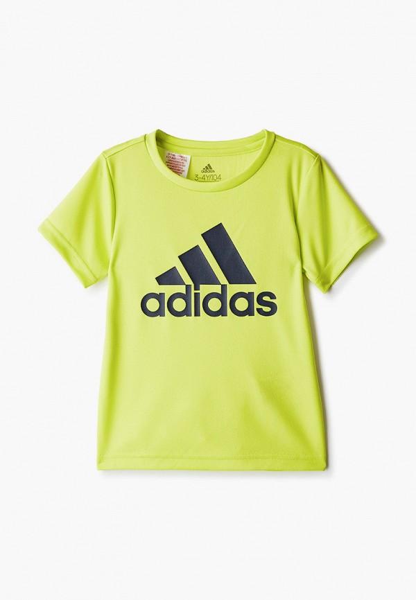 футболка adidas для мальчика, зеленая
