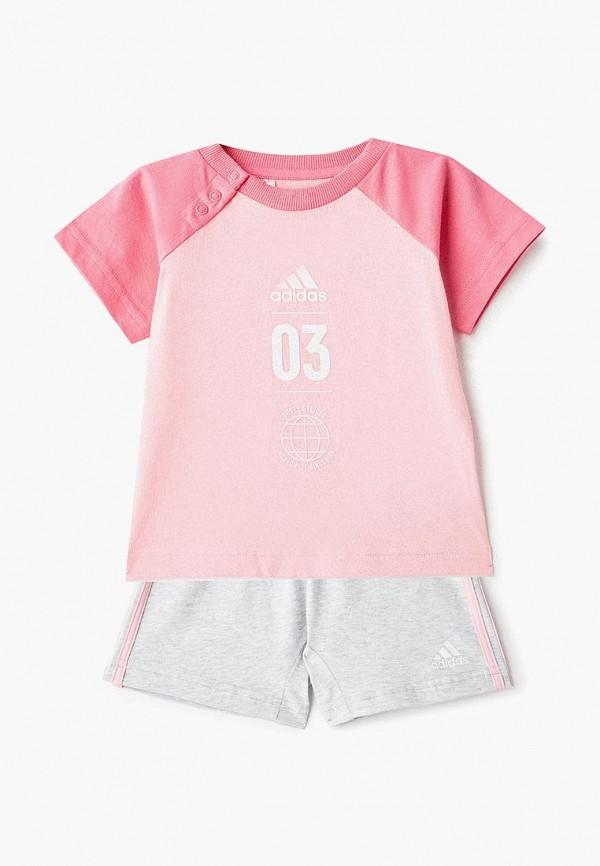спортивные спортивный костюм adidas для девочки, разноцветный
