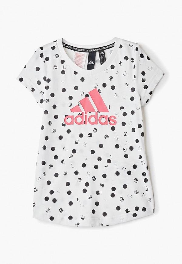футболка adidas для девочки, белая