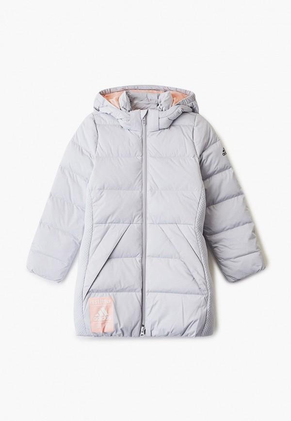 пуховик adidas для девочки, серый