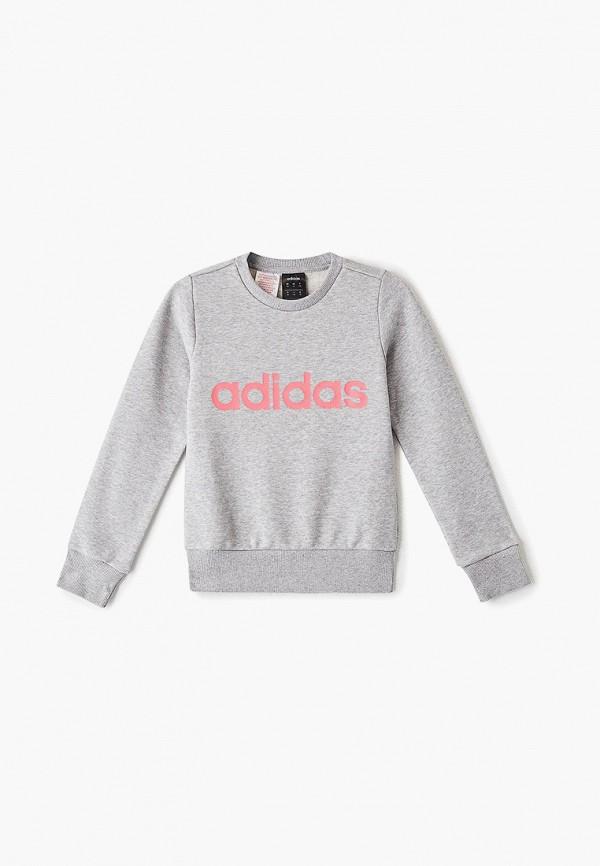 свитшот adidas для девочки, серый