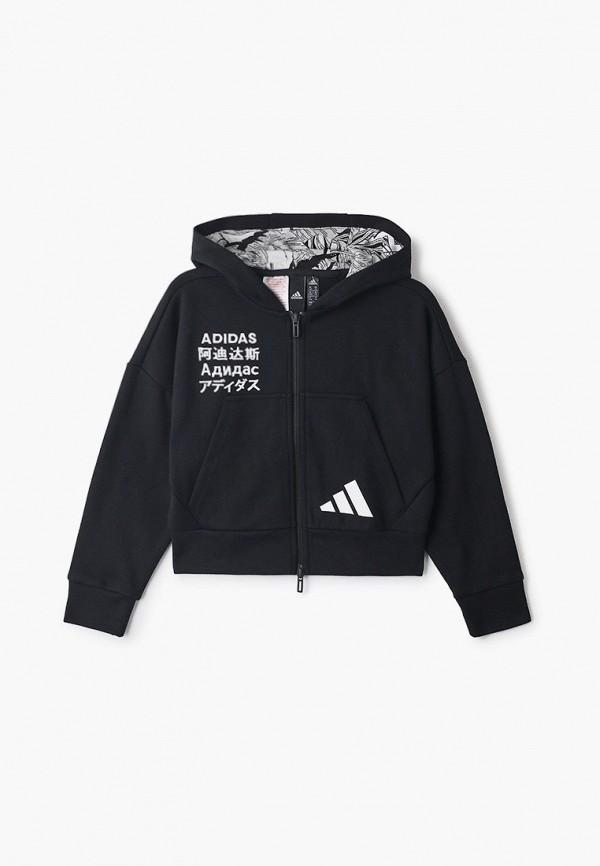 толстовка adidas для девочки, черная