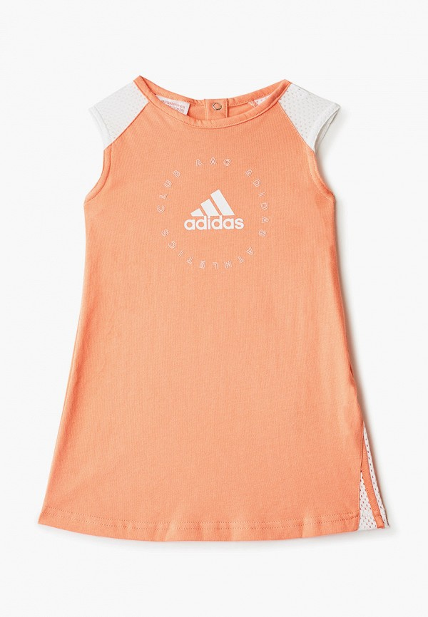 повседневные платье adidas для девочки, оранжевое