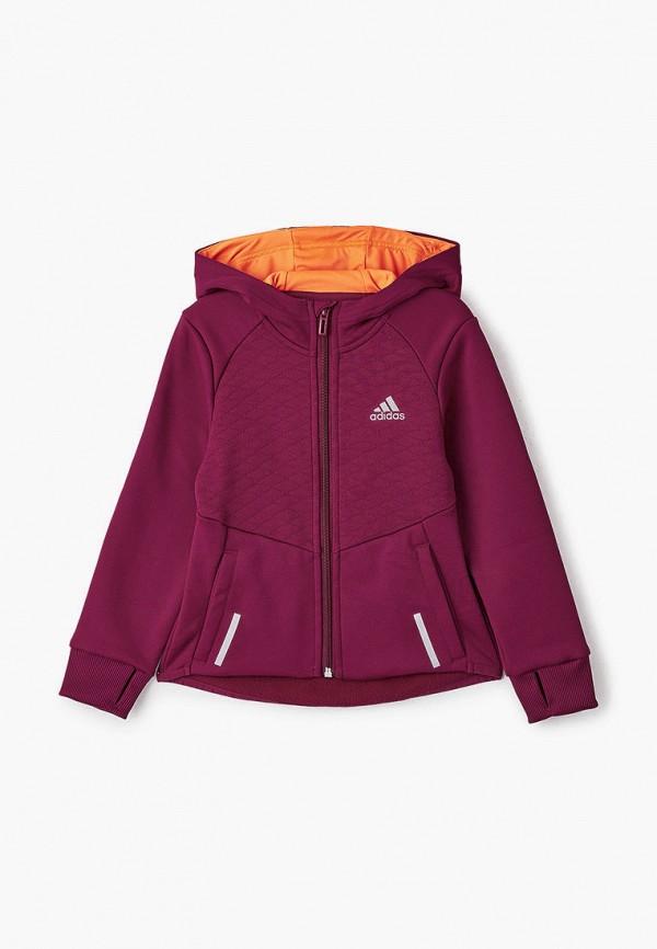 толстовка adidas для девочки, фиолетовая
