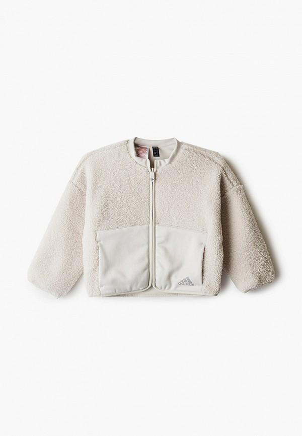 куртка adidas для девочки, бежевая